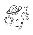 space tattoo stars and planets white background vector image vector image