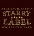 starry label font isolated english alphabet vector image vector image