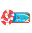 summer sale 50 off lifebuoy background ima vector image