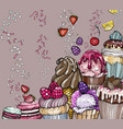 sweet dessert background with cupcakes and ice vector image