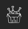 tandoori chicken chalk white icon on black vector image