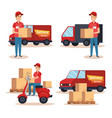 team couriers characters delivery service vector image
