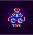 toys neon label vector image vector image