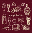 traditional wine hand drawn elements set vector image vector image