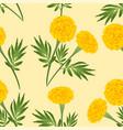 yellow marigold on ivory beige background vector image