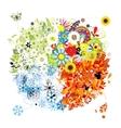 Four seasons - spring summer autumn winter vector image