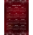 Calendar for 2017 on Red Background vector image