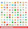 100 choice icons set cartoon style vector image vector image