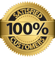 100 percent satisfied customers golden label vector image