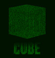 abstract futuristic green background with cube in vector image vector image