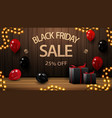 black friday sale up to 25 off discount banner vector image