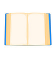 blue cartoon open book isolated on white vector image vector image
