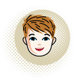 boy face human head portrait red-haired teenager vector image