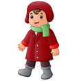 cartoon boy in red winter c vector image vector image