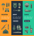 cartoon color army weapons banner vecrtical set vector image