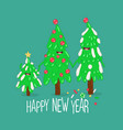 christmas trees are congratulated on new year vector image vector image