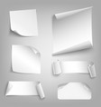 collection white curved papers design elements vector image
