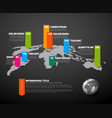 dark world map infographic template vector image vector image