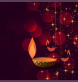 diwali concept background with diya lamps vector image vector image