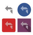 dotted icon left orthogonally curved arrow in vector image vector image