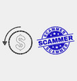 dotted undo payment icon and grunge scammer vector image vector image