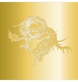 dragon pattern embossed on a gold plate vector image vector image