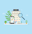 find hotel or search hotels concept with vector image