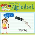 Flashcard alphabet K is for keyring vector image