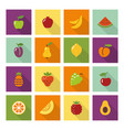 flat icons of different fruits vector image vector image