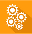 flat long shadow icon of gears stock vector image
