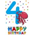 fourth birthday cartoon card vector image vector image
