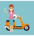 fun woman glasses and motorcycle helmet vector image