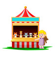 girl at the carnival with the teddy bear vector image vector image