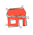 grocery store icon in comic style shop building vector image vector image