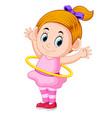 happy girl playing hula hoop vector image vector image