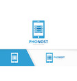 host and phone logo combination server and vector image vector image