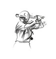 ink sketch of baseball player vector image