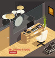 isometric dj studio interior vector image