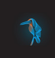 kingfisher bird on black background blend tool vector image