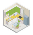 kitchen isometric modern furniture room cutaway vector image