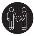 man giving document black concept icon vector image vector image