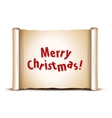 Merry Christmas greeting card on old scroll paper vector image