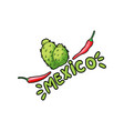 mexico lettering with green letters and red pepper vector image