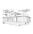 modern private residential house hand drawn vector image vector image