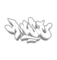music word drawn hand in graffiti style vector image vector image