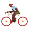 personage riding bicycle in city or town vector image