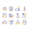 plunger spray and washing cloth icons set window vector image vector image