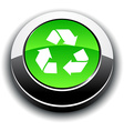 Recycle 3d round button vector image vector image