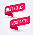 red banner set with text best seller and rated vector image vector image
