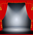 red curtain on black background vector image